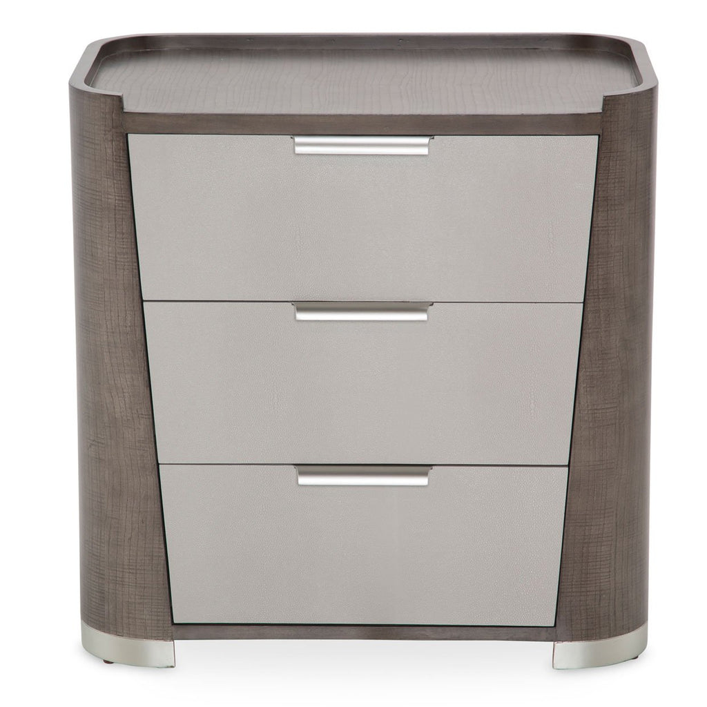 Aico Amini Roxbury Park 3 Drawer Nightstand in Slate