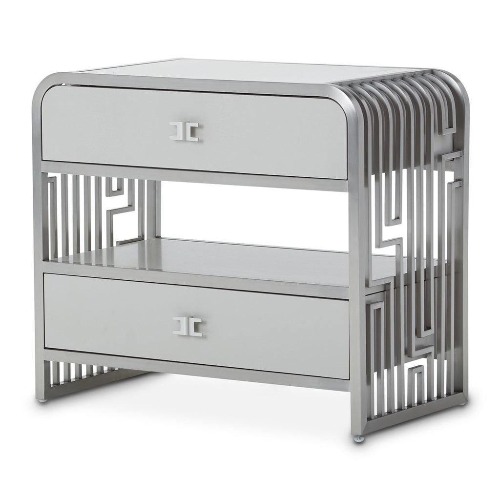 Aico Amini Roxbury Park Stainless Steel Nightstand in Slate