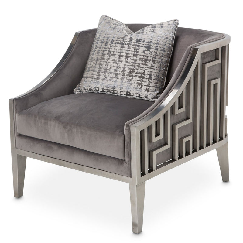 Aico Amini RoxburyPark Accent Chair in Stainless Steel & Slate Velvet