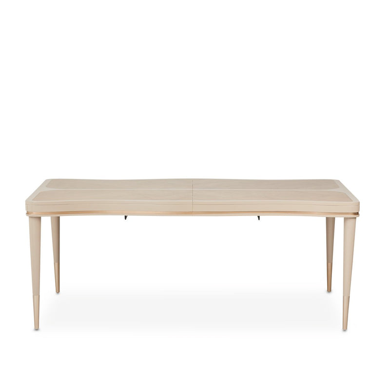 Aico Amini Malibu Crest Rectangular Leg Dining Table in Blush