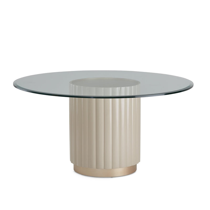 Aico Amini Malibu Crest Round Dining Table in Chardonnay