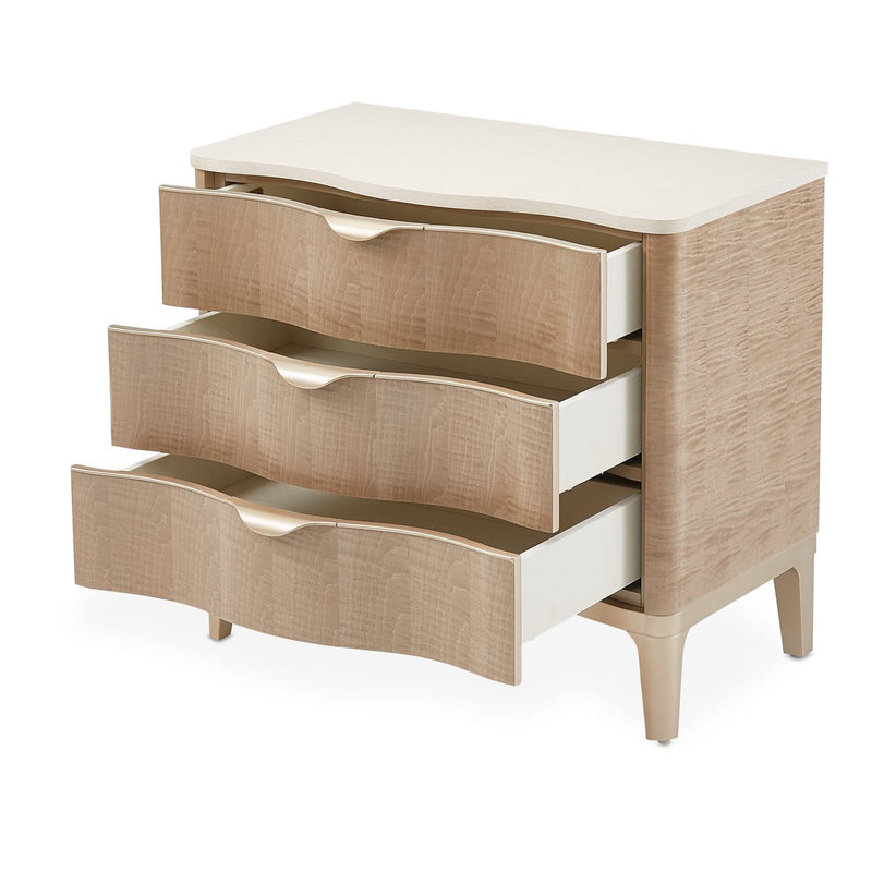 Aico Amini Malibu Crest 3 Drawer Nightstand in Blush