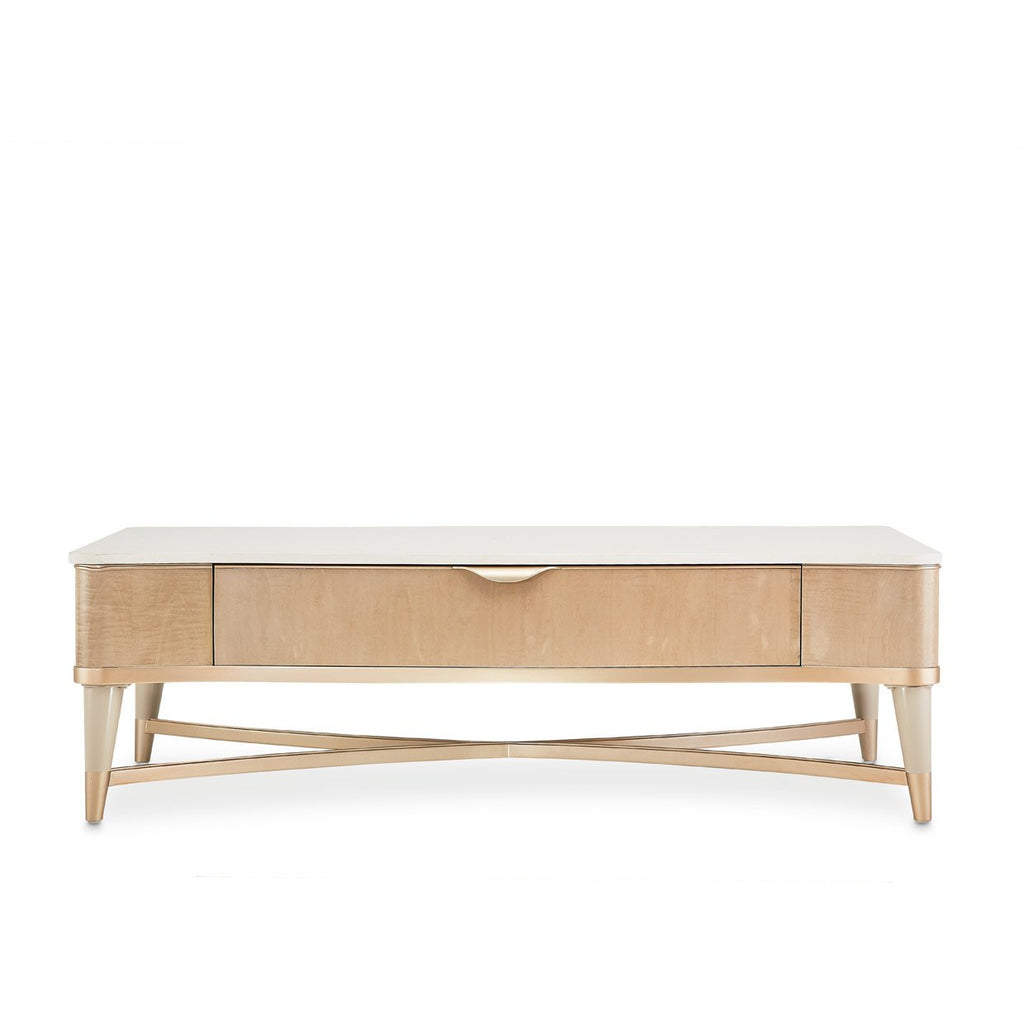 Aico Amini Malibu Crest Rectangular Cocktail Table in Blush