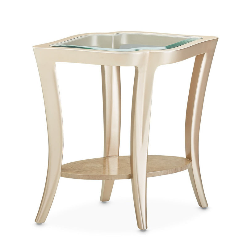 Aico Amini Malibu Crest 2 PC Glass Top Cocktail & End Table Set in Chardonnay