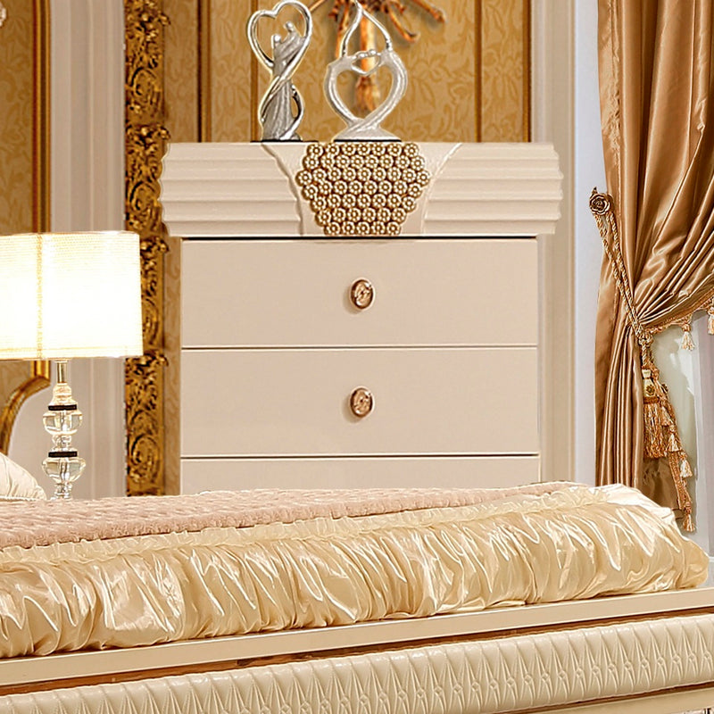 Chest in Silvery White Cream Finish CH901 European Traditional Victorian