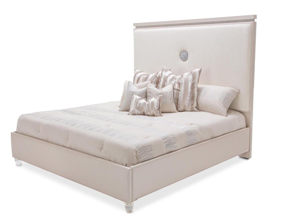 Aico Amini Glimmering Heights E King Upholstered Bed in Ivory