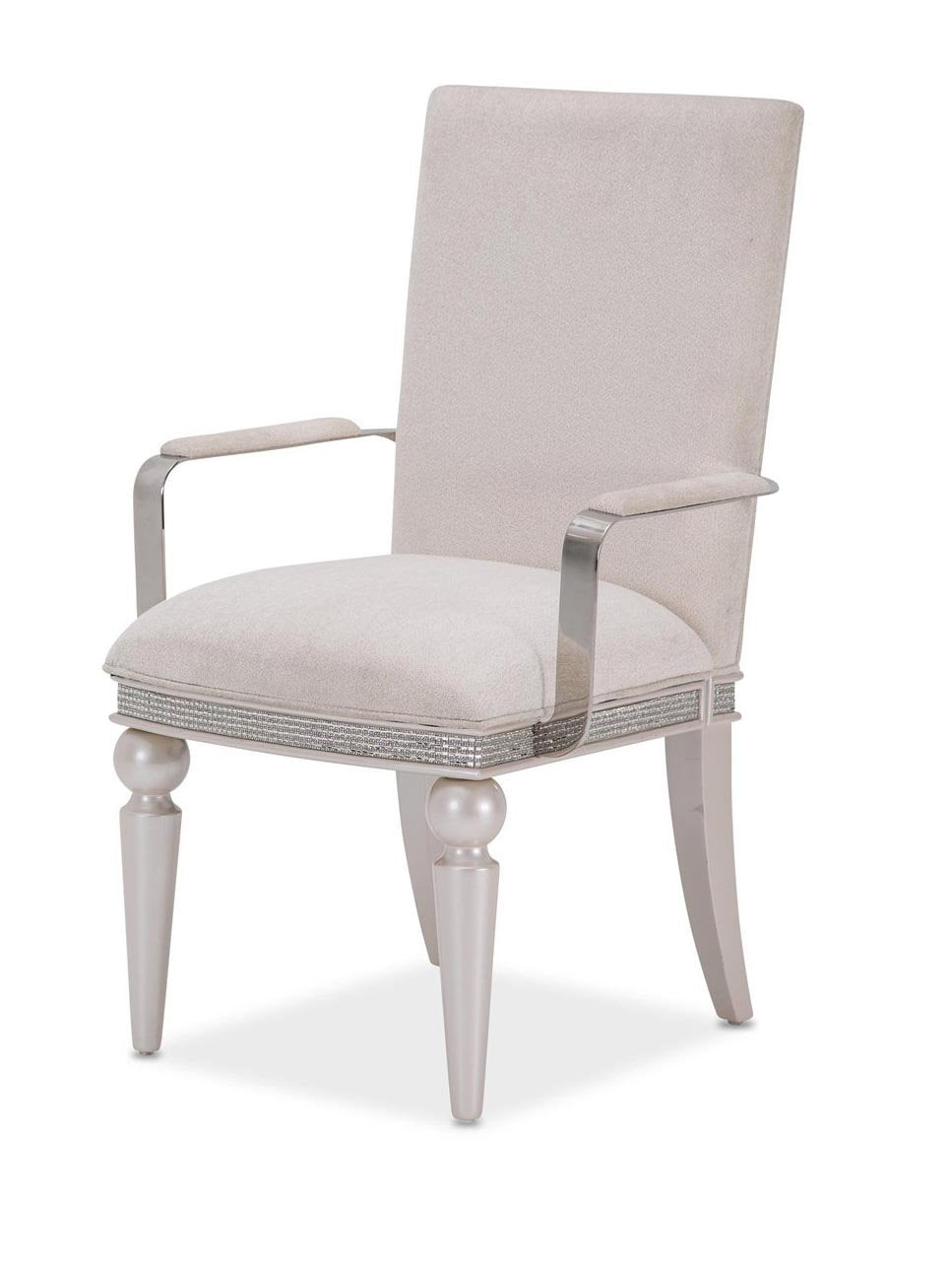 Amini Glimmering Heights Arm Chair in Ivory