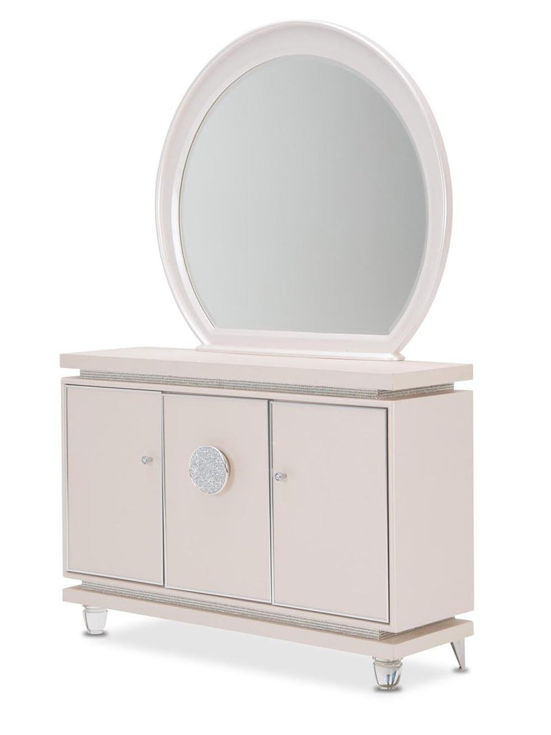 Amini Glimmering Heights Server & Mirror in Ivory