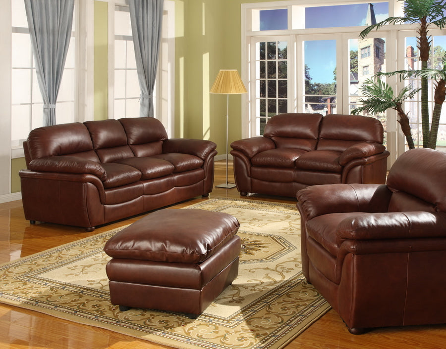 Modern Sofa & Loveseat in Brandy Brown Bonded Leather