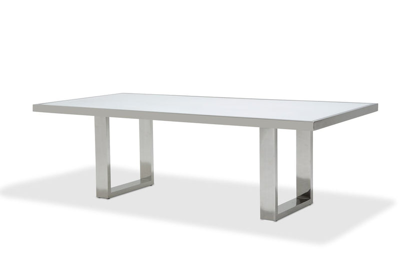 Aico Amini State St Rectangular Dining Table in Glossy White