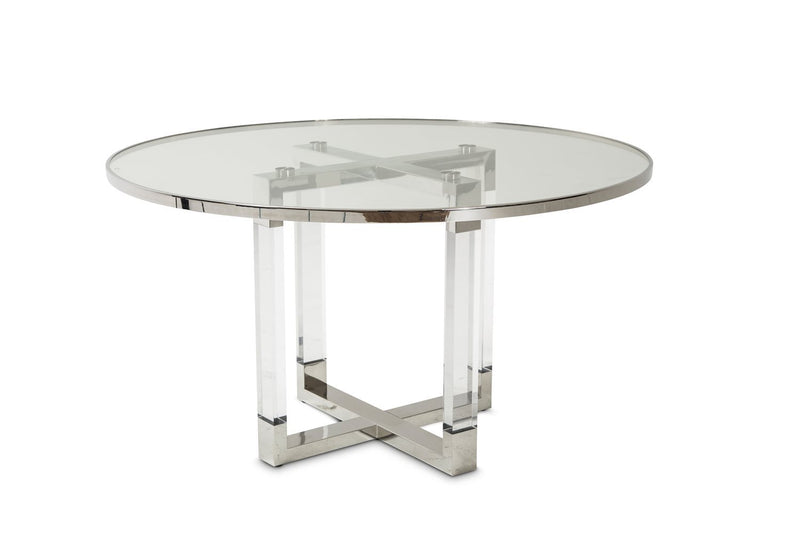 Aico Amini State St Round Dining Table w Glass Insert in Stainless Steel