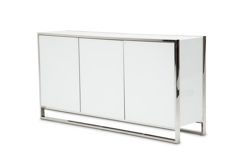 Aico Amini State St 2 PC Sideboard & Mirror Set in Glossy White
