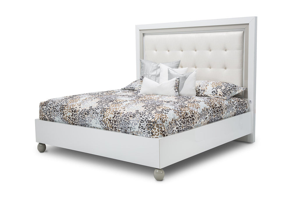 Aico Amini Sky Tower Cal King Platform Bed in White Cloud