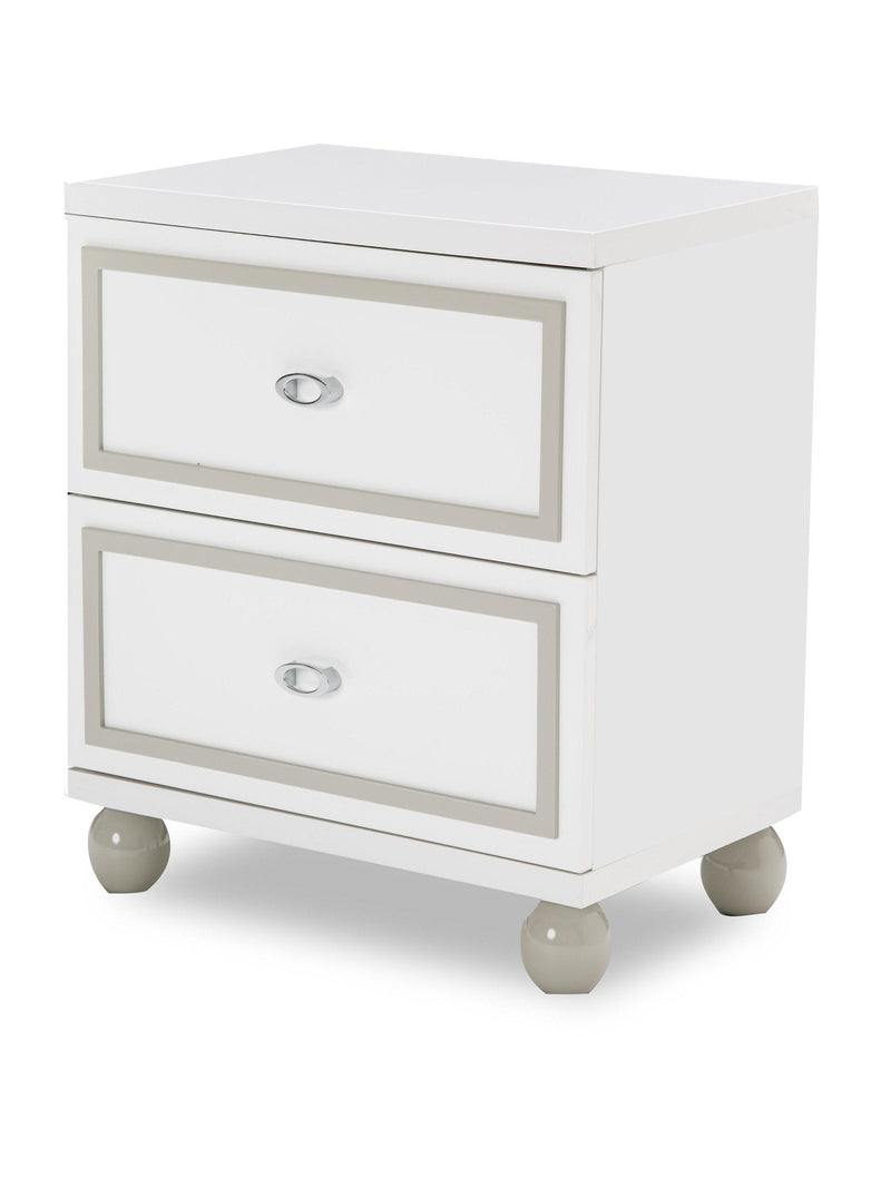 Aico Amini Sky Tower Nightstand in White Cloud