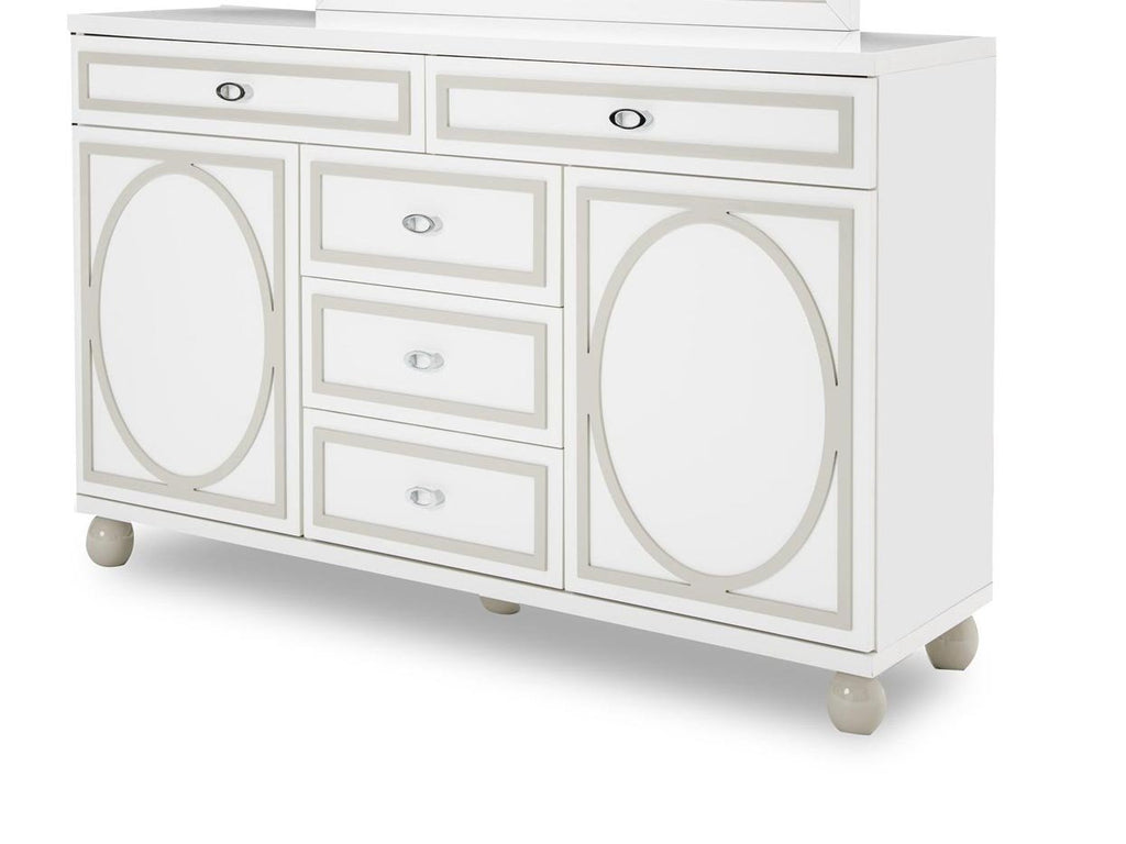Aico Amini Sky Tower Dresser in White Cloud