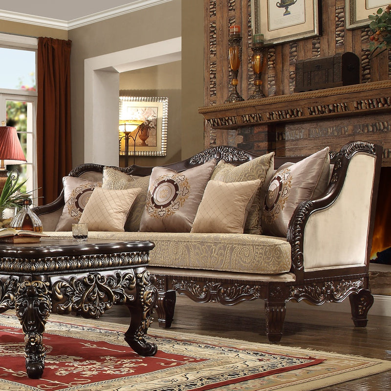 Fabric Sofa in Gold Taupe Finish S914 European Traditional Victorian