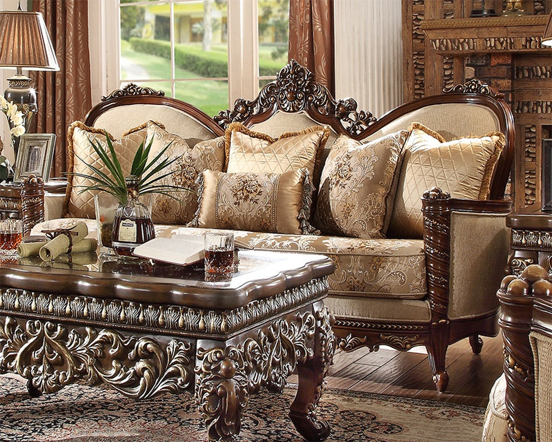 Fabric Loveseat in Extra Dark Walnut Finish L92 European Traditional Victorian