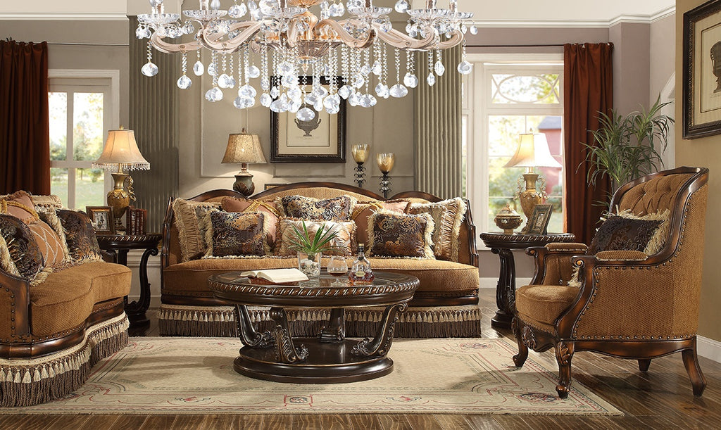 Fabric 3 PC Sofa Set in Rustic Brown Finish 9344-SSET3 European Traditional Victorian