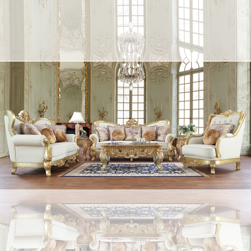 Fabric 3 PC Sofa Set in Metallic Antique Gold Finish SLC93630 European Victorian