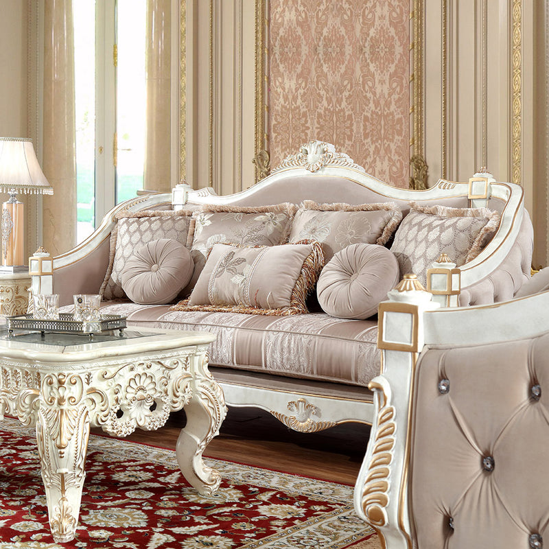 Fabric 3 PC Sofa Set in Cove White with Metallic Gold Finish SLC9390 European
