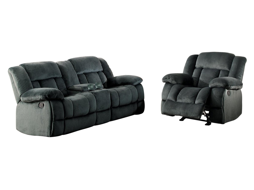 Homelegance Laurelton 2PC Double Glider Reclining Love Seat with Center Console & Glider Reclining Chair in Microfiber - Charcoal