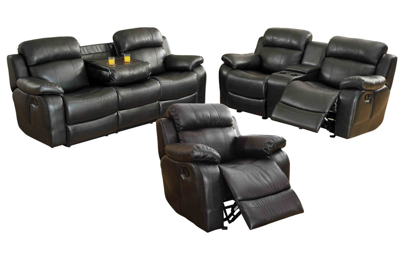 Homelegance Marille3PC Set Double Reclining Sofa, Love Seat with Console & Glider Recliner Chair in Leather - Black