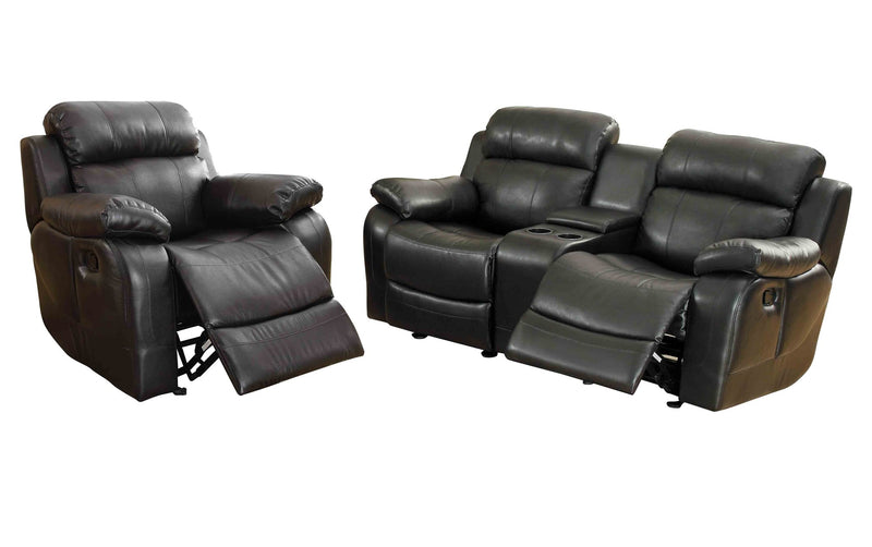 Homelegance Marille2PC Set Double Glider Reclining Love Seat with Console & Glider Recliner Chair in Leather - Black