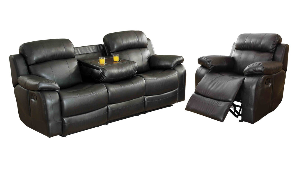 Homelegance Marille2PC Set Double Reclining Sofa with Drop-Down Cup Holders & Glider Recliner Chair in Leather - Black