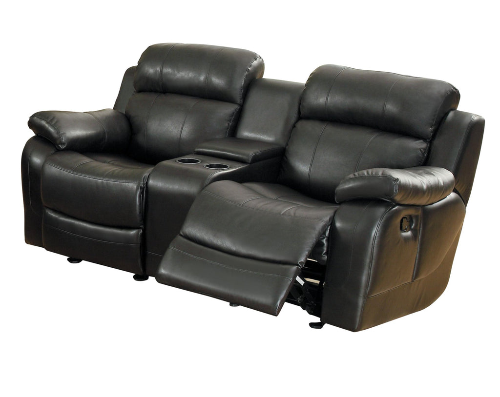 Homelegance MarilleDouble Glider Reclining Love Seat with Console in Leather - Black