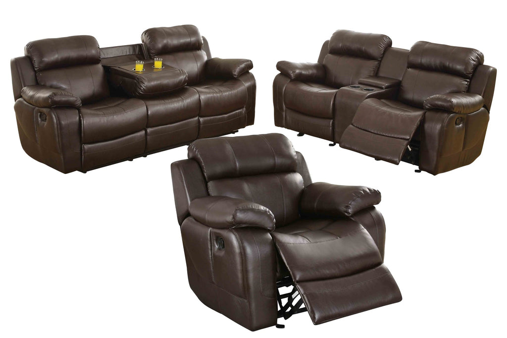Homelegance Marille3PC Set Double Reclining Sofa, Love Seat with Console & Glider Recliner Chair in Leather - Dark Brown