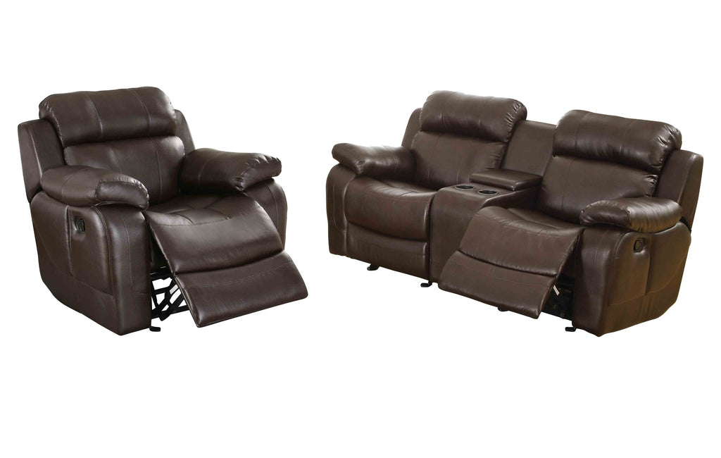 Homelegance Marille2PC Set Double Glider Reclining Love Seat with Console & Glider Recliner Chair in Leather - Dark Brown