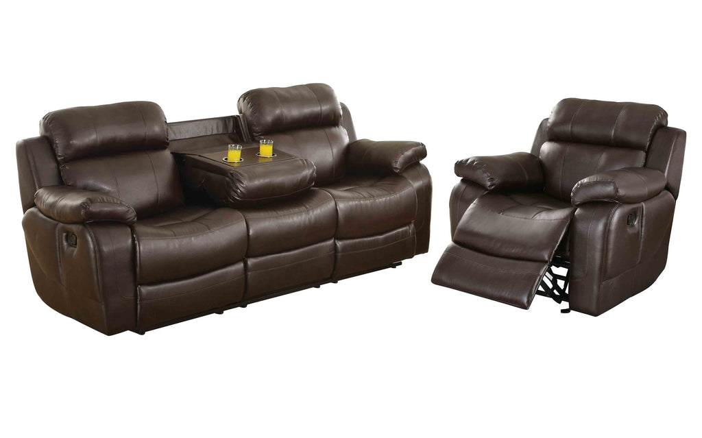 Homelegance Marille2PC Set Double Reclining Sofa with Drop-Down Cup Holders & Glider Recliner Chair in Leather - Dark Brown