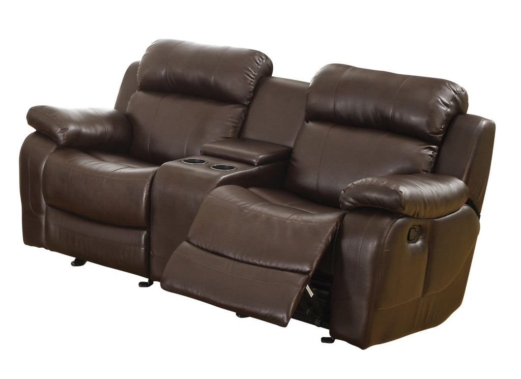Homelegance MarilleDouble Glider Reclining Love Seat with Console in Leather - Dark Brown