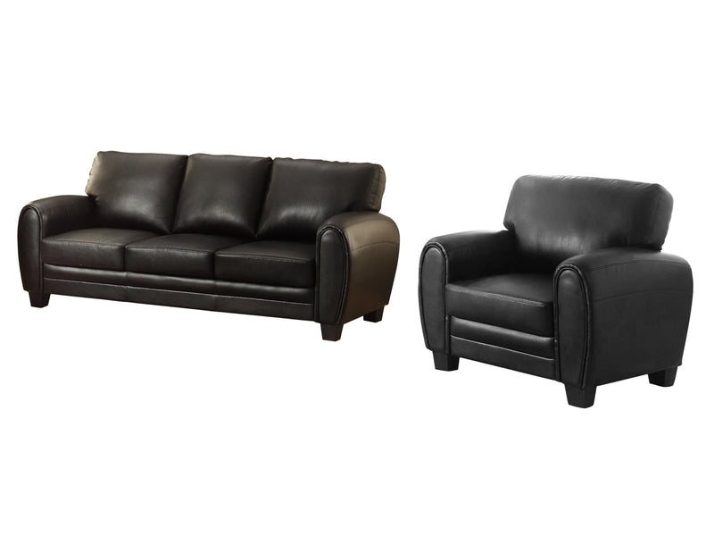 Homelegance Rubin 2PC Set Sofa & Chair in Microfiber - Black