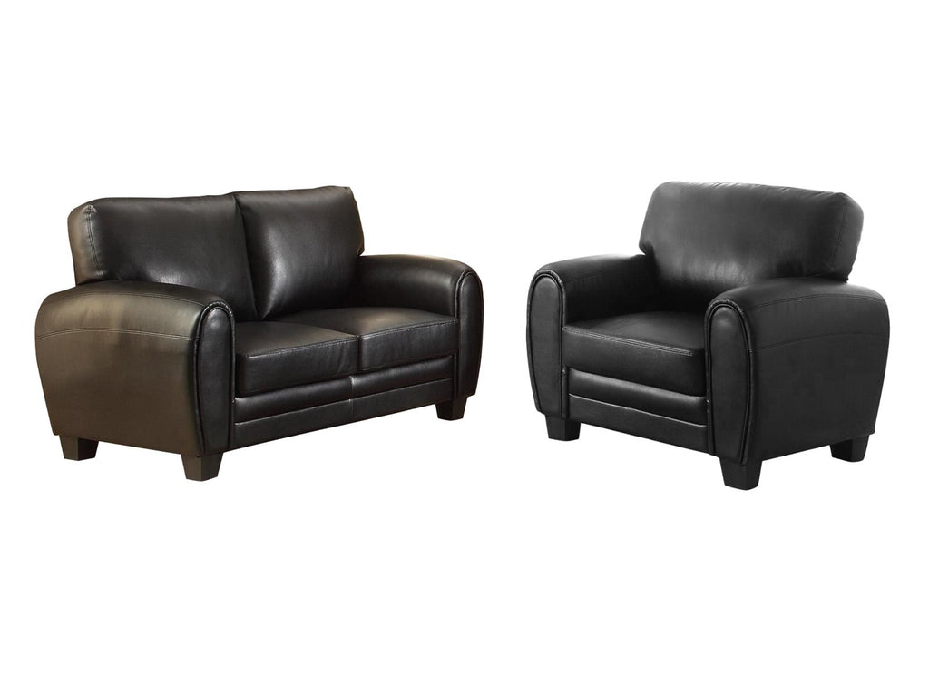 Homelegance Rubin 2PC Set Love Seat & Chair in Microfiber - Black