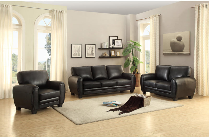 Homelegance Rubin Love Seat in Microfiber - Black