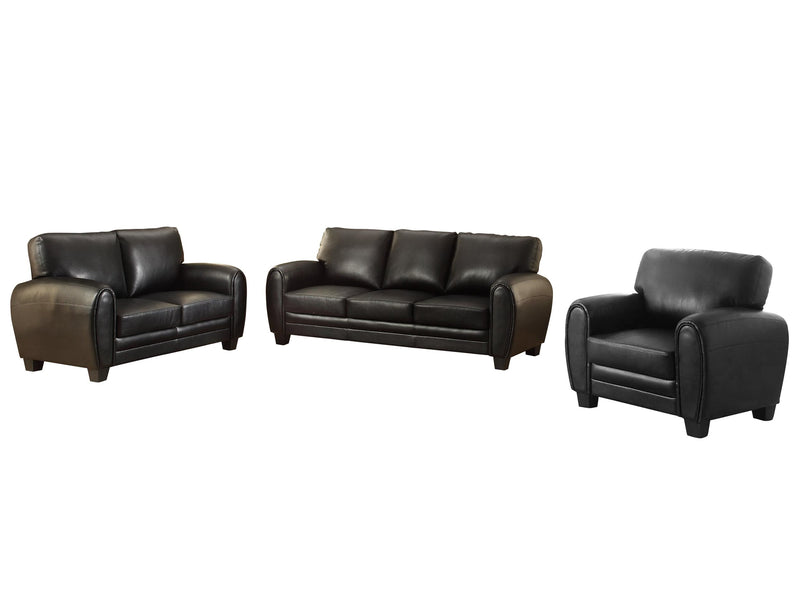 Homelegance Rubin 3PC Set Sofa, Love Seat & Chair in Microfiber - Black