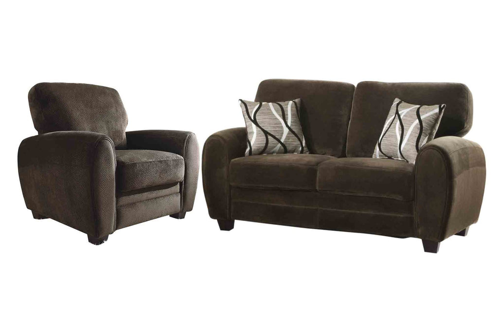 Homelegance Rubin 2PC Set Love Seat & Chair in Microfiber - Chocolate