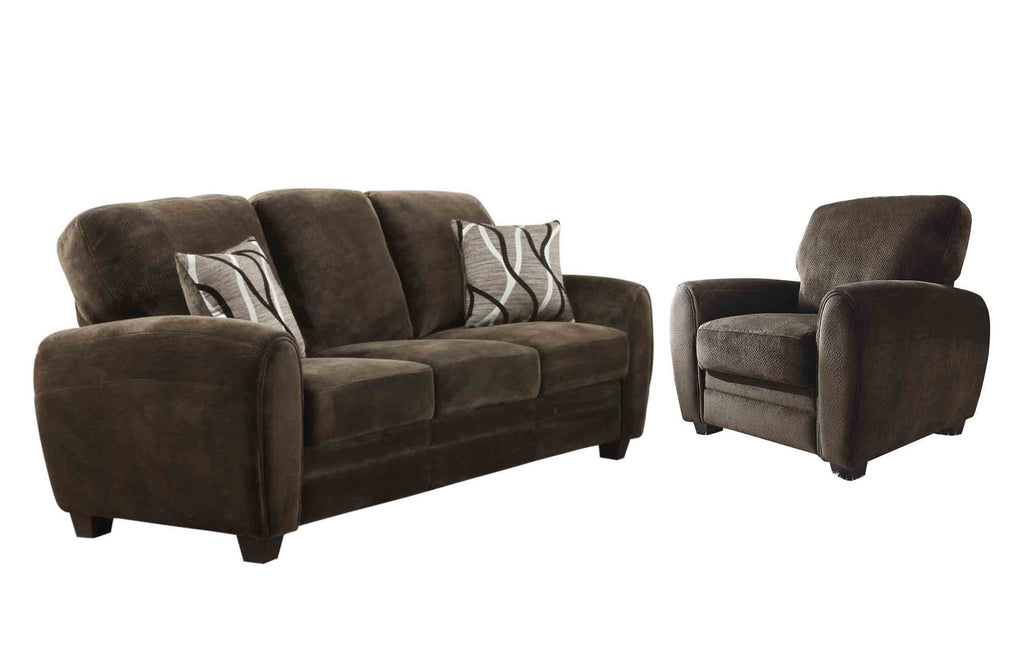 Homelegance Rubin 3PC Set Sofa, Love Seat & Chair in Microfiber - Chocolate