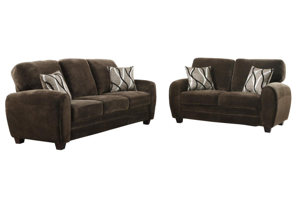 Homelegance Rubin 2PC Set Sofa & Love Seat in Microfiber - Chocolate
