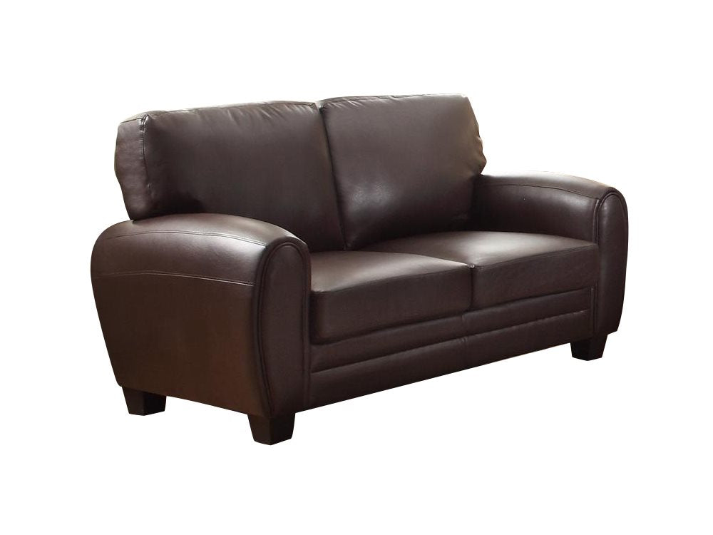 Homelegance Rubin Love Seat in Leather - Dark Brown