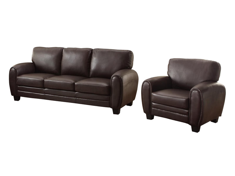 Homelegance Rubin 2PC Set Sofa & Chair in Leather - Dark Brown