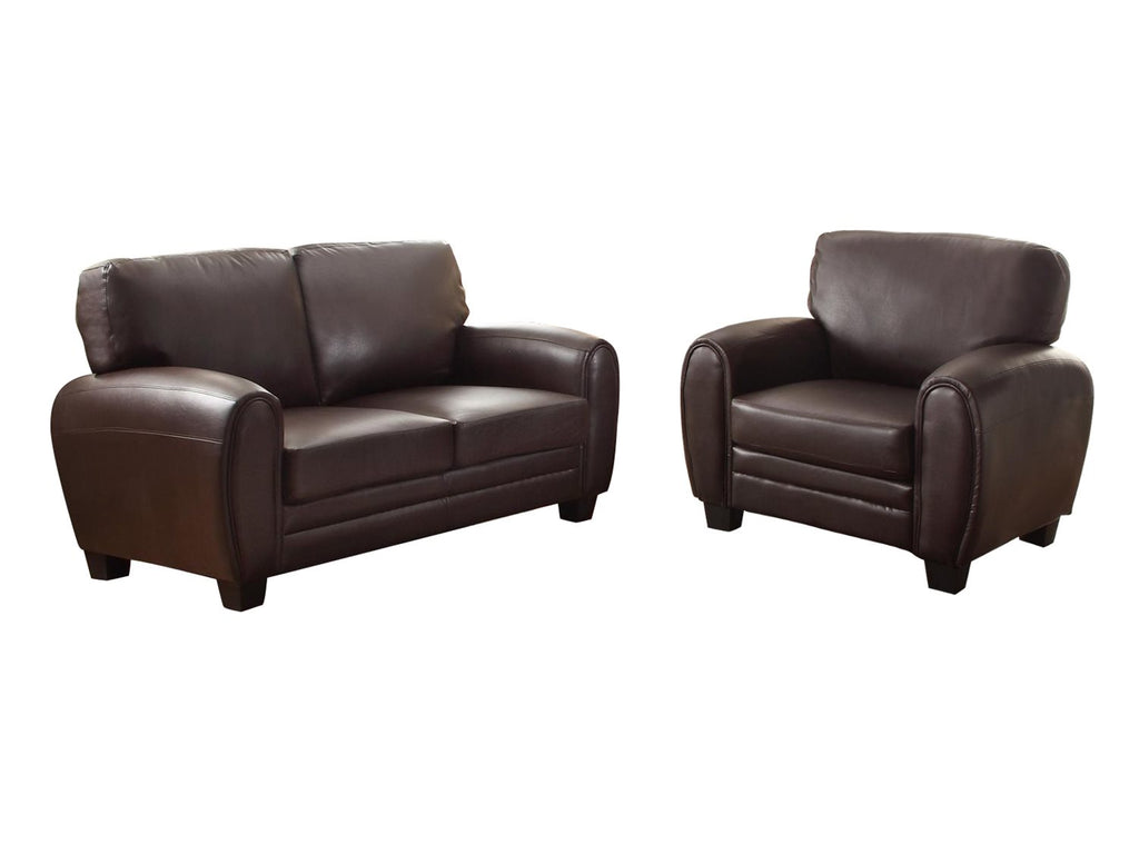Homelegance Rubin 2PC Set Love Seat & Chair in Leather - Dark Brown