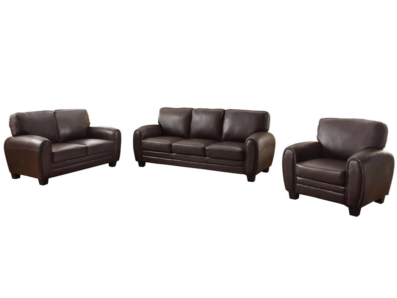 Homelegance Rubin 3PC Set Sofa, Love Seat & Chair in Leather - Dark Brown