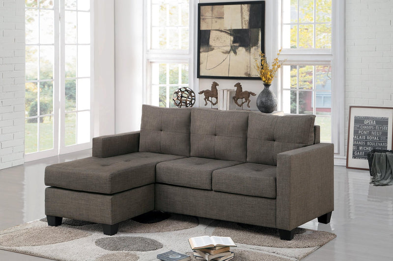 Pavati Reversible Sofa Chaise in Fabric - Brown Gray