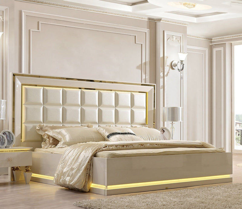 Leather Eastern King Bed in White Gloss Finish EK9935 European Traditional Victorian
