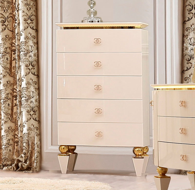 Chest in White Gloss Finish CHE9935 European Traditional Victorian