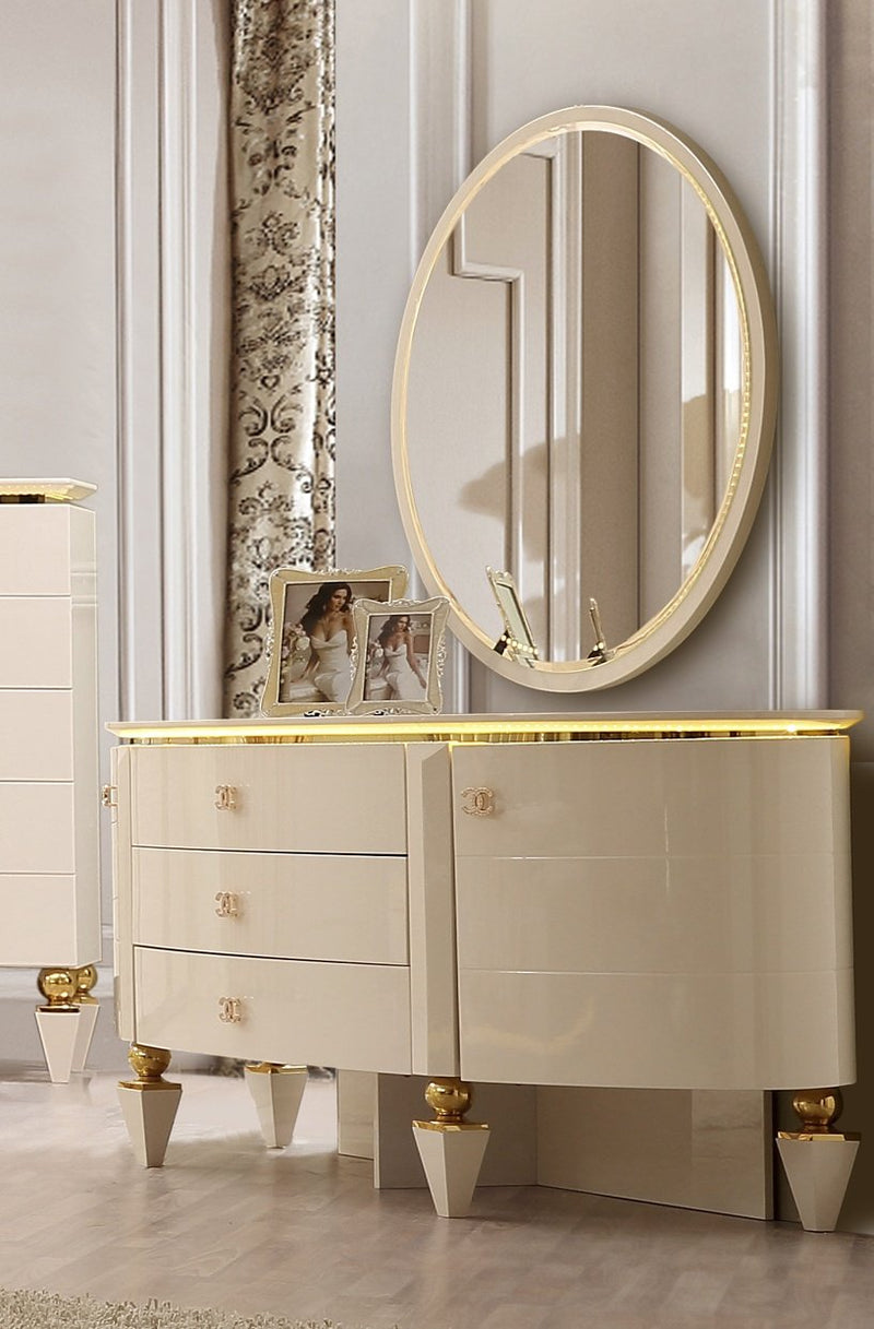 Dresser in White Gloss Finish DR9935 European Traditional Victorian