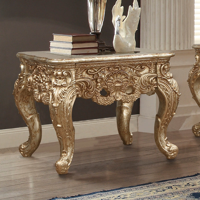 End Table in Champagne Metallic Gold & Silver Blend Finish E998G European