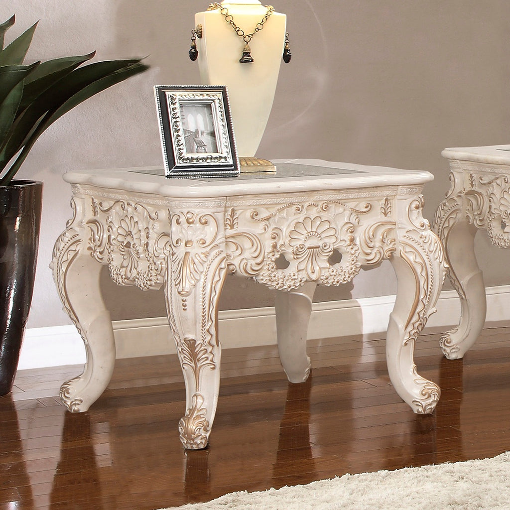 End Table in Ivory with Metallic Gold Finish E998I European Traditional Victorian
